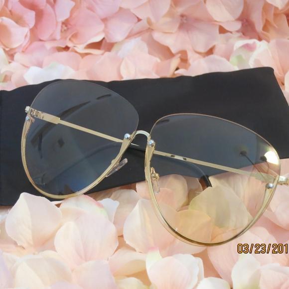 3992e73b797 Gold Semi Rimless Tinted Sunglasses